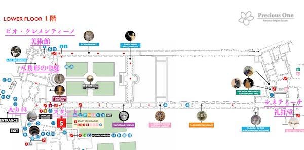 ヴァチカン美術館の館内図1階