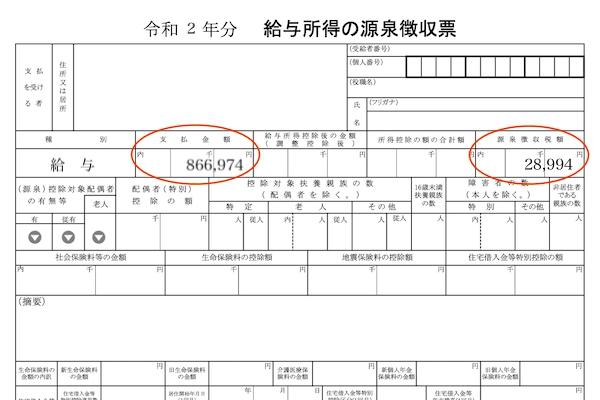 源泉徴収票に記載された源泉徴収税額が還付される